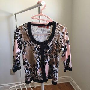 Pink Leopard Print Cardigan